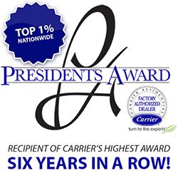 Six-time winner of Carrier's prestigious President Award